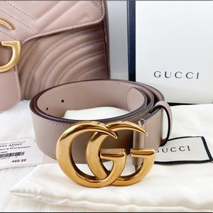 """Gucci Double G Buckle Leather Belt 1.5"""" Size 75"""